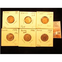 1881, 1885, 1934, 1936, 1939, & 1953 Switzerland Ten Rappan Pieces, VF-AU.