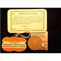 """Compliments of the Woman's Christian Temperance Union"" Tag; ""Temperance Pledge…"" Card; 1922 D U.S."