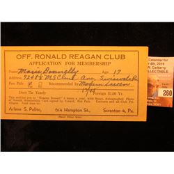 """Moritz Printery Cass Bldg. Saginaw 3, Michigan"" Certificate ""Off. Ronald Reagan Club Application fo"