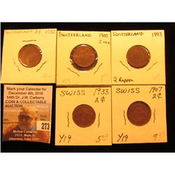 1893, 1900, 1907, 1932, & 1933 Switzerland Two Rappan Coins, Brown EF.