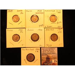 1881, 1883, 1907, 1910, 1934, 1938, & 1939 Switzerland Five Rappan Coins, VF-BU.