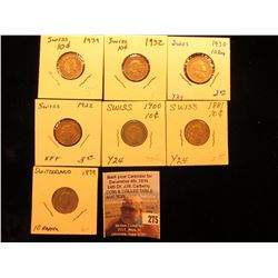 1879, 1881, 1900, 1922, 1930, 1932, & 1939 Switzerland Ten Rappan Coins, VF-EF.