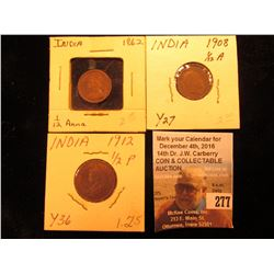 India Trio of Coppers: 1862 Brown AU & 1908 EF 1/12 Annas; & 1912 1/2 Paisa Red-brown Unc.