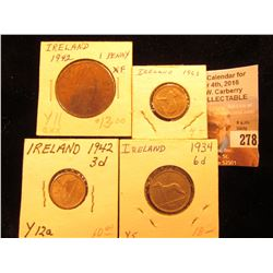 Irish Group: 1942 One Penny, EF; 1942 & 63 Three Pence EF-AU; & 1934 Six Pence, EF.