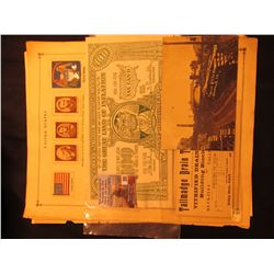 "Group of Stamp pages; post card from Brick & Tile Works, Woodhull, Ill.; ""Tallmadge Drain Tile Co. M"