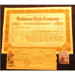 Aug. 1, 1896 Grand Junction, Iowa Check payable to Dale Goodwin Pressed Brick Co.; & 1955 Stock Cert