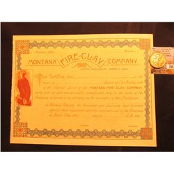 "Unissued Stock Certificate ""Montana Fire-Clay Company"" Butte City…A.D. 188__ & 1941 D Walking Libert"