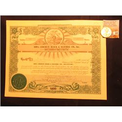 """Hole Cancelled 50 Share Stock Certificate """"Iowa Concrete Block & Material Co., Inc."""" January 1964; &"""