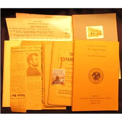 """Pair of Price lists on numismatic literature from Dr. Muscalus; newspaper clipping """"Lincoln One-Cent"""