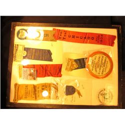 "12"" x 16"" Ryker Display Case with a large group of Dairy Ribbons, Badges, and medals dating back ove"