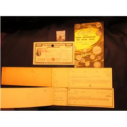 "Pair of 1800 era receipt books with some receipts missing; (1957) ""Cash for your Canada Newfoundland"