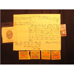 (4) Different Ohio Sales Tax Stamps; Insurance Company of America Eagle vignette; & an 1840 dated ea