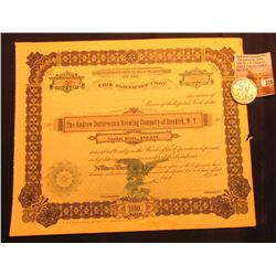"Unissued Stock Certificate ""The Andrew Dotterweich Brewing Company of Dunkirk, N.Y."", small tear; &"