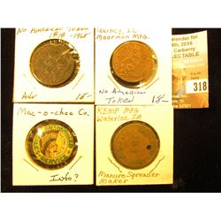"""1818-1968 Moorman's Advertising Token on a North American Token dated 1818; """"Authorized Sales-Servic"""