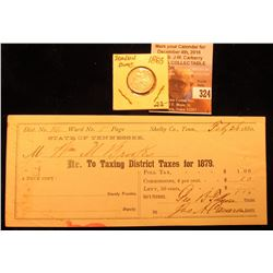 1883 P U.S. Seated Liberty Dime, VF & Feb. 26, 1880 State of Tennessee District Taxing Certificate f