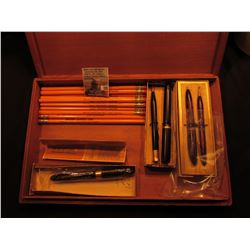 Greetings from California large wooden, lidded box containing a group of mechanical pencils and pens
