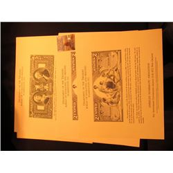 (3) Different Bureau of Engraving & Printing Souvenir Cards with original vignette stype Prints of v