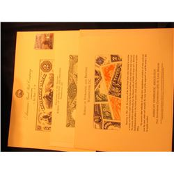 (3) Different Souvenir Cards from American Bank Note Company & the Bureau of Engraving & Printing. 1