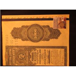 """$1000 """"The new York Central and Hudson River Railroad Company"""" Bond with numerous attached interest"""