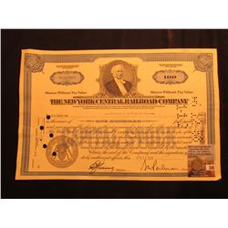 """1874 Arrows U.S. Seated Liberty Dime, Fine; & 100 Share Stock Certificate """"The New York Central Rail"""