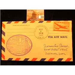 "Original May 1,1947 ""First Flight Honolulu Hawaii F.A.M. 30 San Francisco California U.S. Air Mail"""