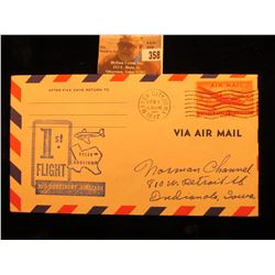"Mason City, Iowa Feb. 1, 1947 Postmarked Cover ""1st Flight Tyler Houston Mid-Continent Airlines"" wit"