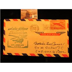 "1947 ""Trans. Office Air Mail Field"" Postmarked Cover ""Air Mail Service By Helicopter First Flight A."