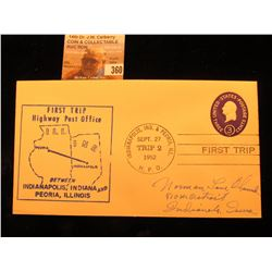 "Postmarked ""Indianapolis, Ind. & Peoria, Ill. Sept. 27 Trip 2 1952 H.P.O. First Trip"" Cover ""First T"