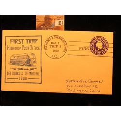 """First Trip Highway Post Office Between Des Moines & Shenandoah, Iowa"" Cover Postmarked ""Des Moines"