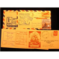 (5) 1947-57 Postmarked First Flight or First Trip U.S. Postal Covers.