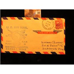 """New York, N.Y. Jun 27 6 P.M. 1947 Morgan Sta."" Postmarked cover ""U.S. Air Mail First Flight F.A.M."