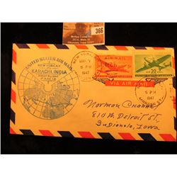 "New York, N.Y. Mar. 7 5 P.M. 1947 Morgan Sta. Postmarked cover ""United States Air Mail New York, N.Y"