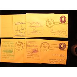 (5) 1950-52 Postmarked First Flight or First or Second Trip U.S. Postal Covers.
