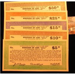 "Depression Scrip: $5, $10, $15, $25, & $50 ""United States of America - State of New Jersey Borough o"