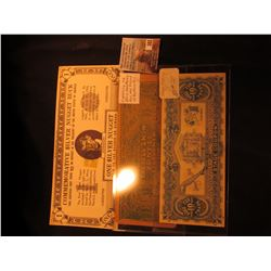 """Commemorative Silver Nugget Buck, 1967 Silver Corp.; ""Good For 10c in Trade Stage Coupon…""; & ""This"