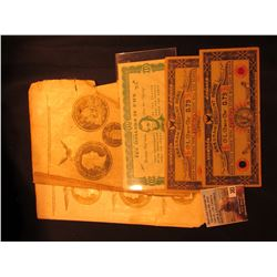 """$10 in Fun """"Remember Pearl Harbor Keep 'em Flying"""" Notes; several Pages of an Old Coin Book; & a pai"""