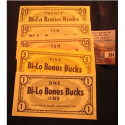 "$1, $5, $10, & $20 ""Bi-Lo Bonus Bucks"" Good only in Alaska. Food coupons."