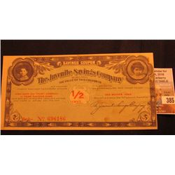 """Des Moines, Iowa 1/2 Cent Scrip from """"The Juvenile Savings Company"""" Serial no. 696186."""