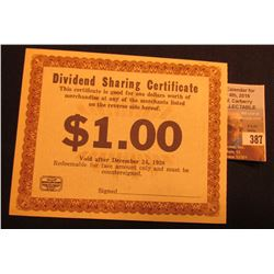 "Dec. 24, 1938 Chicago, Ill. ""Dividend Sharing Certificate"" Unsigned scarce piece of Depression Scrip"