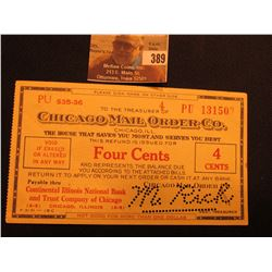 "Four Cents scrip ""Chicago Mail Order Co., Chicago, Ill."" Depression era."