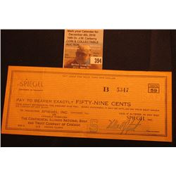"Scrip or Check ""Spiegel 59 Cents"" Chicago 9, Illinois payable at the Continental Illinois National B"