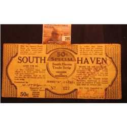 """50c Special South Haven Trade Scrip Chamber of Commerce"" Series A 3-7-1933. Michigan Depression Scr"