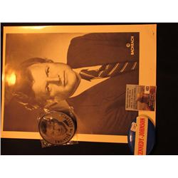"Black & White Photo of Ted Kennedy, 2 1/2"" Flasher Pin Kennedy for President Swainson for Govenor an"