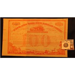 1880's The St. Louis and Terre Haute Railroad Company 100 Shares Preferred Stock Unissued Certificat
