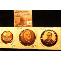 (3) Different FD Roosevelt Scarce Presidential Campaign Buttons.