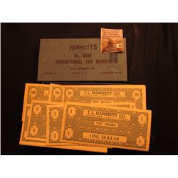 "Original box ""Hammett's No. 4009 Educational Toy Money J.L. Hammett Co. Union, N.J. Lyons, N.Y. Camb"