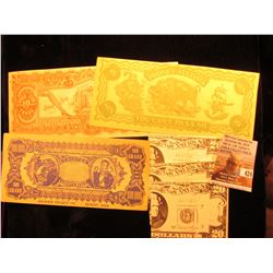 "$100,000 ""Tainted Counterfeit Advance Novelty Co."" Note; (3) Iowa City Novelty $20 Notes from Dick N"