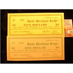"""March 10, 1933 Burke Merchants Script"" One & Five Dollar (North Carolina) Depression Scrip, Uncance"