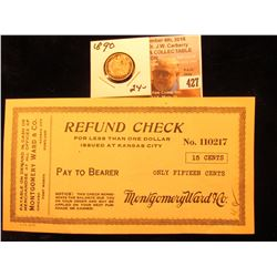 Montgomery Ward & Co. 15 Cents Refund Check Scrip Issued at Kansas City, Mo. No. 110217; & 1890 P U.