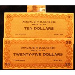 "$10 & $25 ""Annual B.P.O. Elks 456 Days of '49 Lewistown, Montana"" Scrip. CU."